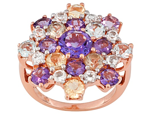 Stratify(Tm) 6.00ctw Round Multi Color Gem 18k Rose Gold Over Sterling Silver Ring Erv $143.00 ...
