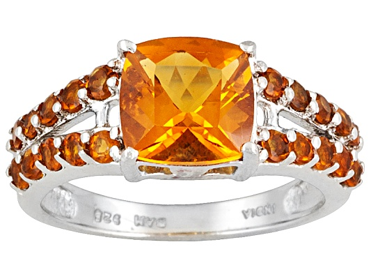 2.55ctw Cushion And Round Madeira Citrine Sterling Silver Ring