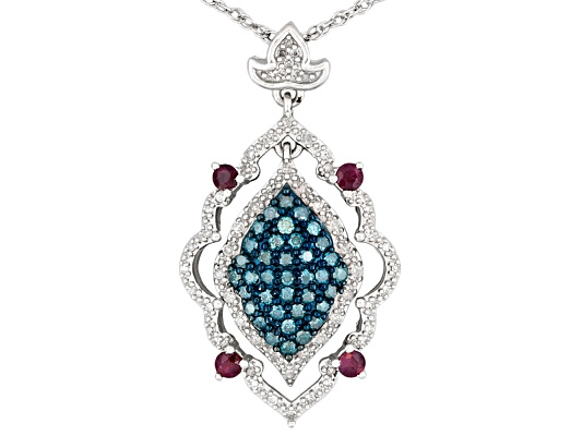 Regal Legacy(Tm) .24ctw Ruby & .50ctw White & Blue Velvet Diamond(Tm) Rhodium Over S/S Pendant ...