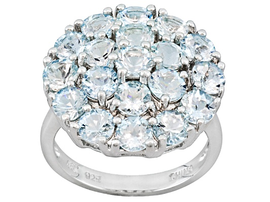Altai Aquamarine(Tm) 4.37ctw Round Sterling Silver Ring