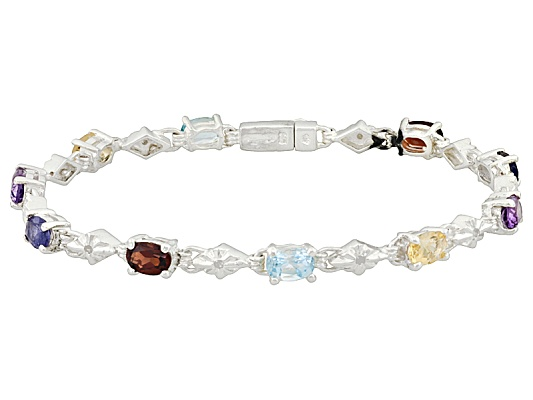 Multi Stone 4.68ctw Oval With Diamond Accent Round, Sterling Silver Bracelet