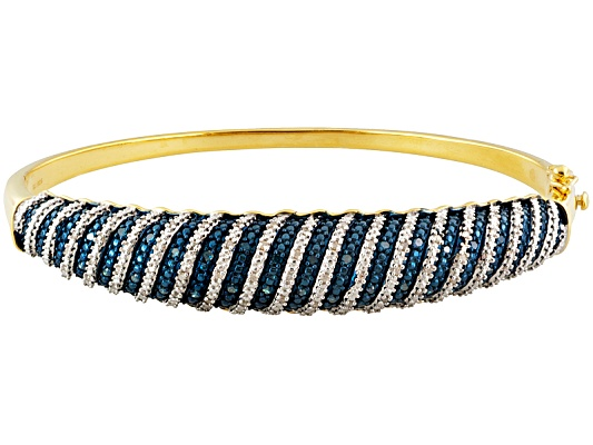 Engild(Tm), .50ctw White And Blue Velvet Diamond(Tm) Yellow Aureate(Tm) Designer Bangle Eav $400.00