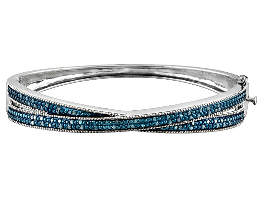 Blue Velvet Diamond(Tm) .50ctw Round Rhodium Over Sterling Silver Bangle Bracelet Erv $375.00