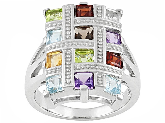2.24ctw Square Multi-gemstone Sterling Silver Ring