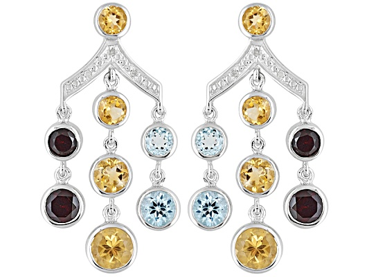7.50ctw Citrine, Glacier Topaz (Tm),Vermelho Garnet (Tm) With Diamond Accent S/S Earrings