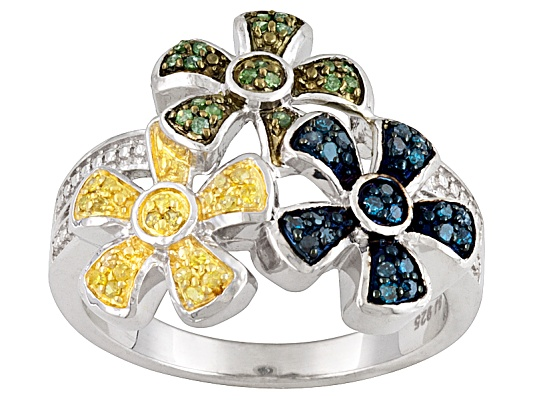 Multicolor Diamond .20ctw Round Rhodium Over Sterling Silver Flower Ring