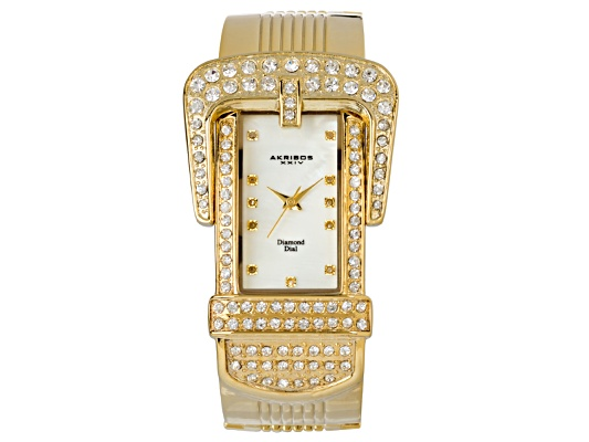 Akribos Diamond Accent & Crystal Yellow Gold Ion Plated Mother Of Pearl Dial Designer Buckle ...