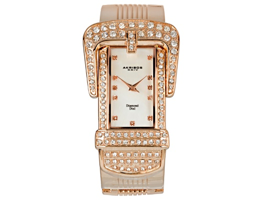 Akribos Diamond Accent & Crystal Rose Gold Ion Plated Mother Of Pearl Dial Designer Buckle ...