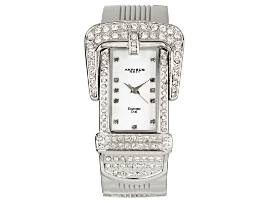 Akribos Diamond Accent & Crystal Palladium Plated Mother Of Pearl Dial Designer Buckle Watch