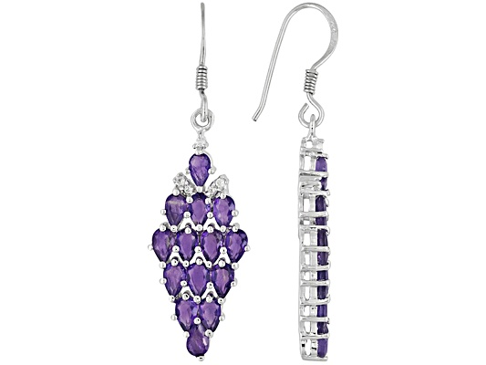 5.04ctw Pear Shape African Amethyst With .12ctw Round White Topaz Sterling Silver Dangle Earrings