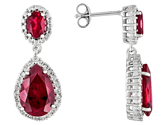 Lab Created Ruby 8.88ctw Pear Shape And Oval With .92ctw Round White Topaz Sterling Silver ...