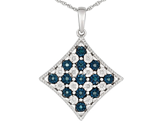 Monture Diamond Collection(Tm) .15ctw White & Blue Velvet Diamond(Tm) Rhodium Over S/S Pendant ...
