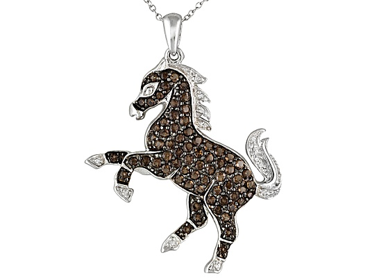 1.32ctw Smoky Quartz And .10ctw White Topaz Sterling Silver Horse Pendant With Chain