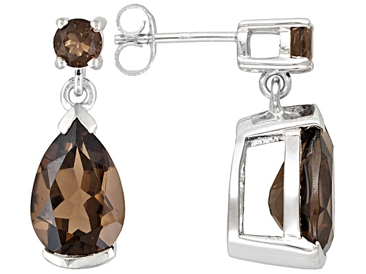 Smoky Quartz 4.75ctw Pear Shape And Round Sterling Silver Dangle Earrings