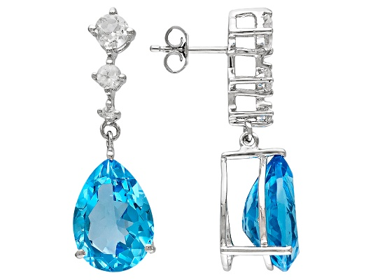 Swiss Blue Topaz 20.00ctw Pear Shape With 1.25ctw Round White Topaz Sterling Silver Dangle ...