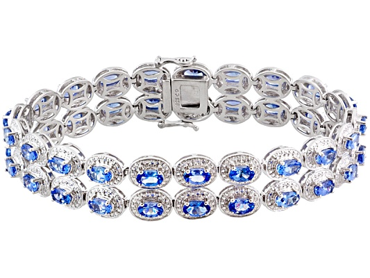 Tanzanite 10.00ctw Oval, Rhodium Over Sterling Silver Double Row Bracelet