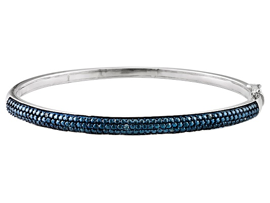 Emulous(Tm) Blue Velvet Diamond(Tm) .10ctw Round Rhodium Over Brass Bangle Bracelet