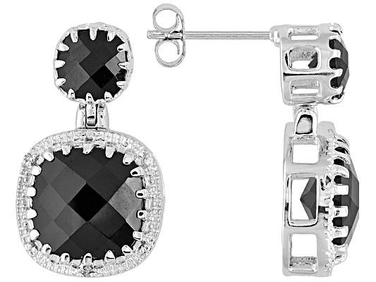 14.80ctw Black Spinel With White Diamond Accent Sterling Silver Dangle Earrings