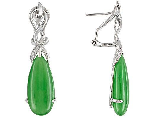 Elongated Pear Shape Cabochon Green Jade With Round White Topaz Accent Sterling Silver Earrings