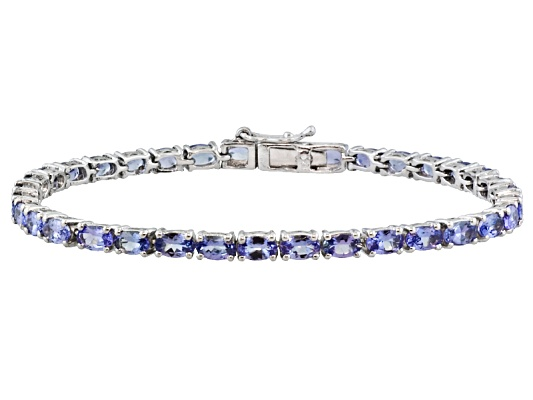 Tanzanite Average 7.35ctw Oval, Rhodium Over Sterling Bracelet, Available In Four Sizes Eav $300.00