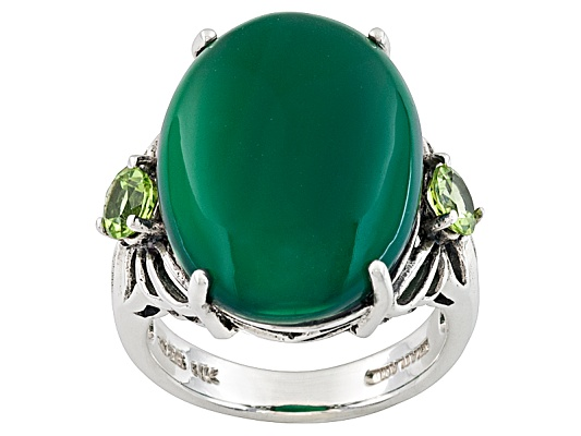 Green Onyx, Oval Cabochon With .60ctw Round Manchurian Peridot (Tm) Sterling Silver Ring Erv ...