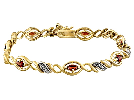 Garnet 2.40ctw With Diamond Accent Sterling Silver And 18k Yellow Gold Over Sterling Silver ...