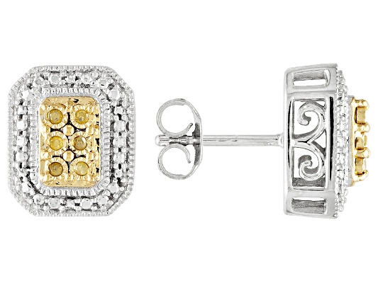 Monture Diamond Collection(Tm) Sunglo! Yellow Diamond(Tm) Diamond Accent Rhodium Over S/S Earrings