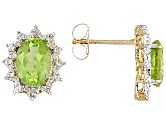 Peridot 1.80ctw Oval With Diamond Accent Round, 10k Yellow Gold Earrings