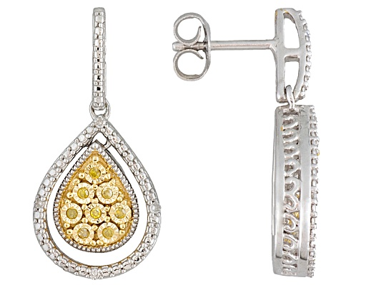 Monture Diamond Collection(Tm) White & Sunglo! Yellow Diamond(Tm) Accent Rhodium Over S/S Earrings