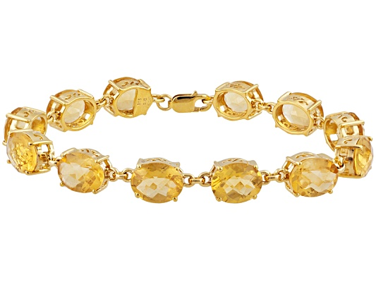 Stratify(Tm) 32.50ctw Oval Citrine 18k Yg Over Sterling Silver Bracelet