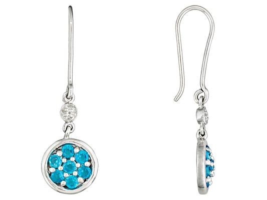 Neon Apatite .75ctw Round With Round White Topaz Sterling Silver Dangle Earrings