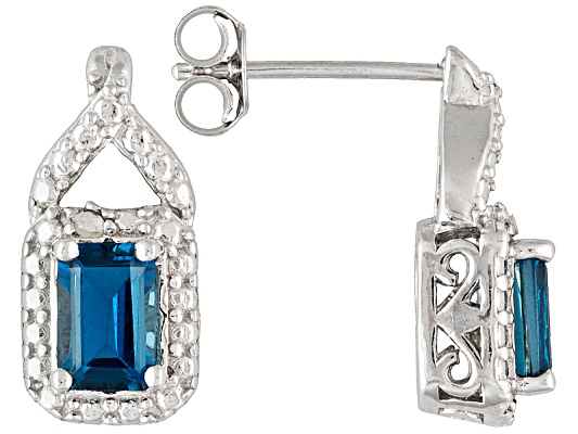 London Blue Topaz 1.30ctw Emerald Cut With Round White Diamond Accent Sterling Silver Earrings
