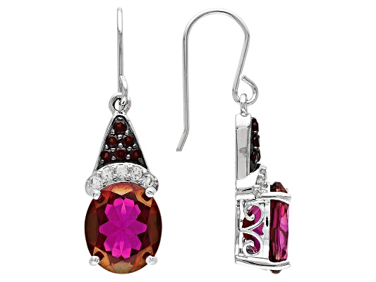 Peony (Tm) Mystic Topaz, Vermelho Garnet (Tm) And White Topaz 12.47ctw Sterling Silver Earrings