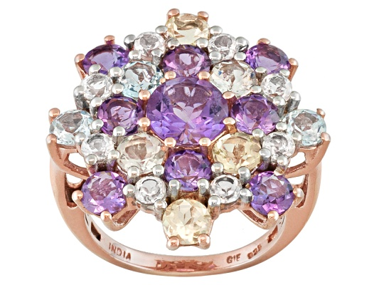 Stratify(Tm) 6.08ctw Round Multi Gemstone 18k Rose Gold Over Sterling Silver Ring
