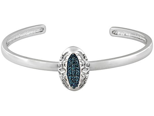Emulous(Tm) .10ctw Round Blue Velvet Diamond(Tm) Rhodium Over Brass Filigree Cuff Bracelet