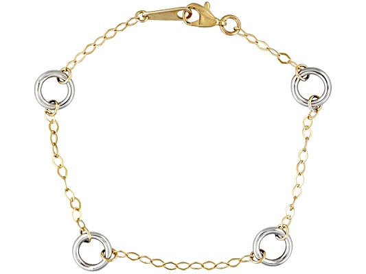 Fancy Circle Link 14k White And Yellow Gold 7 Inch Bracelet