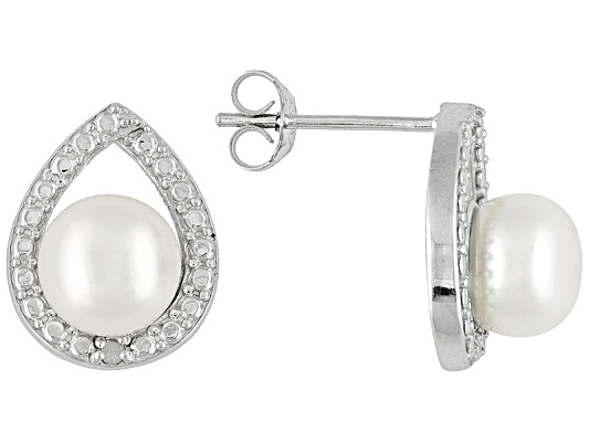 7mm White Cultured Freshwater Pearl And Diamond Accent Sterling Silver Earrings