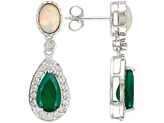 Green Onyx Pear Shape With Oval Ethiopian Opal And .84ctw White Topaz Sterling Silver Earrings ...