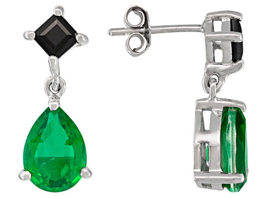 10x7mm Pear Shape Emerald Triplet With 1.10ctw Square Black Spinel Sterling Silver Earrings