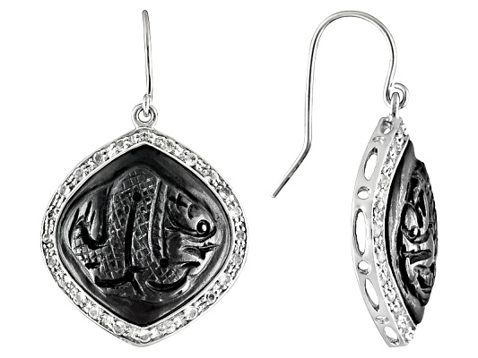 Oriental Expressions Jewelry(Tm) Fancy Cut Carved Black Jade And 1.05ctw Wht Topaz S/S Earrings