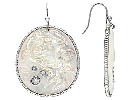 Oriental Expressions Jewelry(Tm) Wht Mother-of Pearl And .86ctw Wht Topaz S/S Earrings