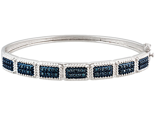 Blue Velvet Diamond(Tm) .33ctw Round Rhodium Over Sterling Silver Bangle Bracelet