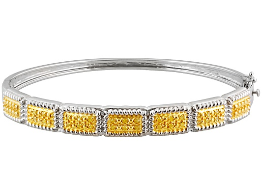 Sunglo! Yellow Diamond(Tm) .33ctw Round Rhodium Over Sterling Silver Bangle Bracelet