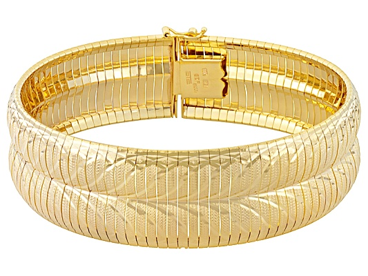 Moda Al Massimo(Tm) Diamond Cut & Satin 18k Yellow Gold Over Bronze Wave Design Bangle ...