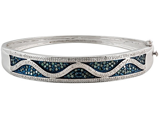 Park Avenue(Tm) 1.60ctw White & Blue Velvet Diamond(Tm) Rhodium Over Sterling Bracelet Eav $850.00