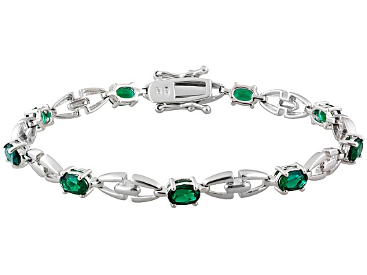 Lab Created Emerald 4.50ctw Oval, Rhodium Over Sterling Silver Bracelet