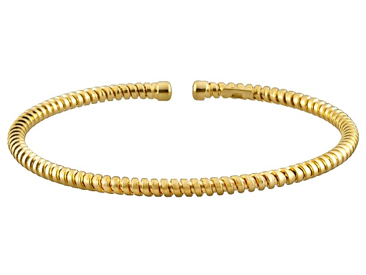 Argento Dorato(Tm) Avalone 18k Yellow Gold Over Sterling Silver 7 Inch Bangle Made In Italy ...