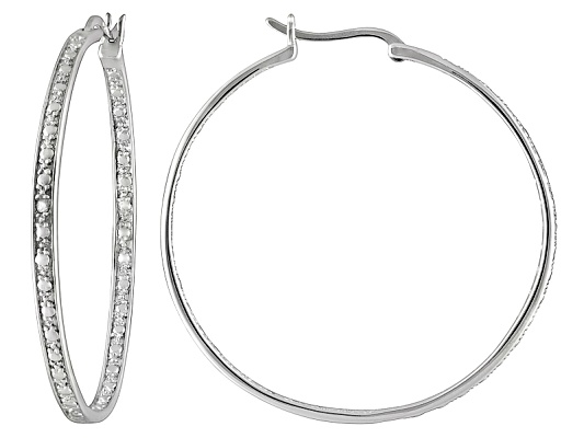 Diamond Accent Round, Rhodium Over Sterling Silver Inside Out Hoop Earrings