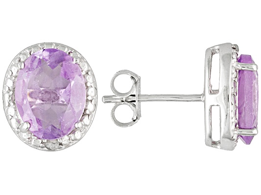 Amethyst 3.20ctw Oval With Diamond Accent Round, Rhodium Over Sterling Silver Earrings