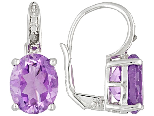 Amethyst 4.50ctw Oval With Diamond Accent Round, Rhodium Over Sterling Silver Earrings